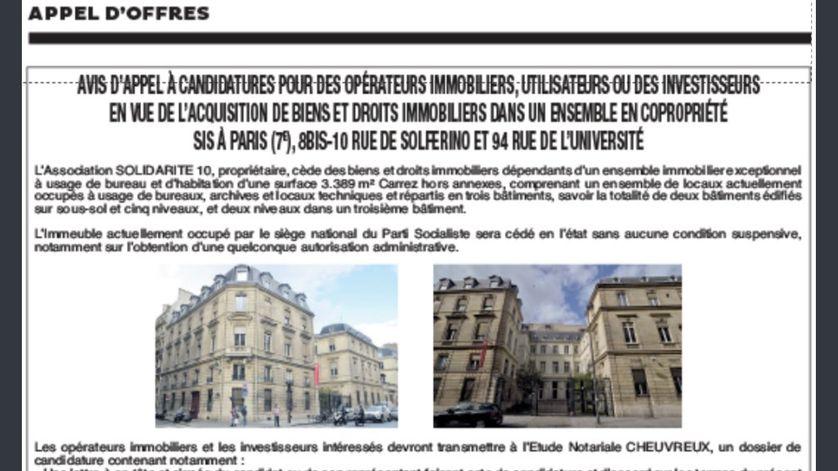 Annonce de la vente du siège parisien du Parti Socialiste dans Les Echos du 18 octobre 2017