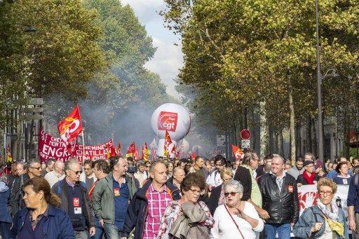Manifestation, hier à Paris, à l'appel de la CGT et de Solidaires contre la réforme du Code du travail