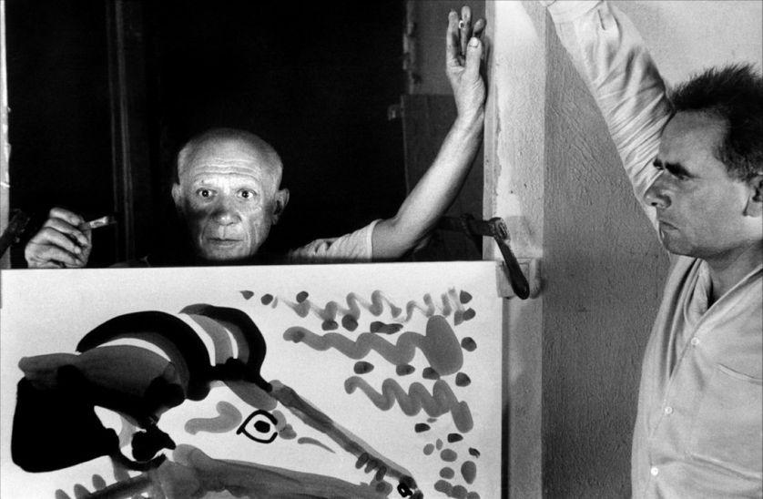 Photographie de Pablo Picasso et Henri-Georges Clouzot, tournage du Mystère Picasso, 1955