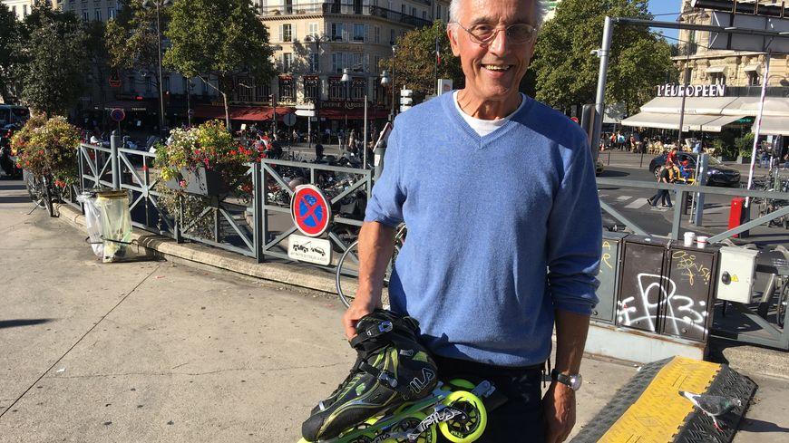 A 77 ans, Paul Monshein est le plus vieux des concurrents inscrits pour le premier Paris roller marathon.