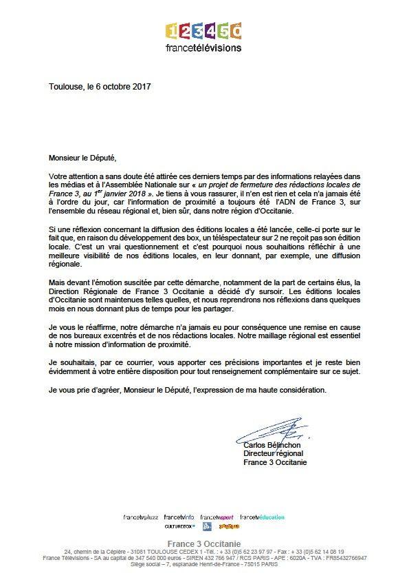 La lettre envoyée aux députés des Pyrénées-Orientales