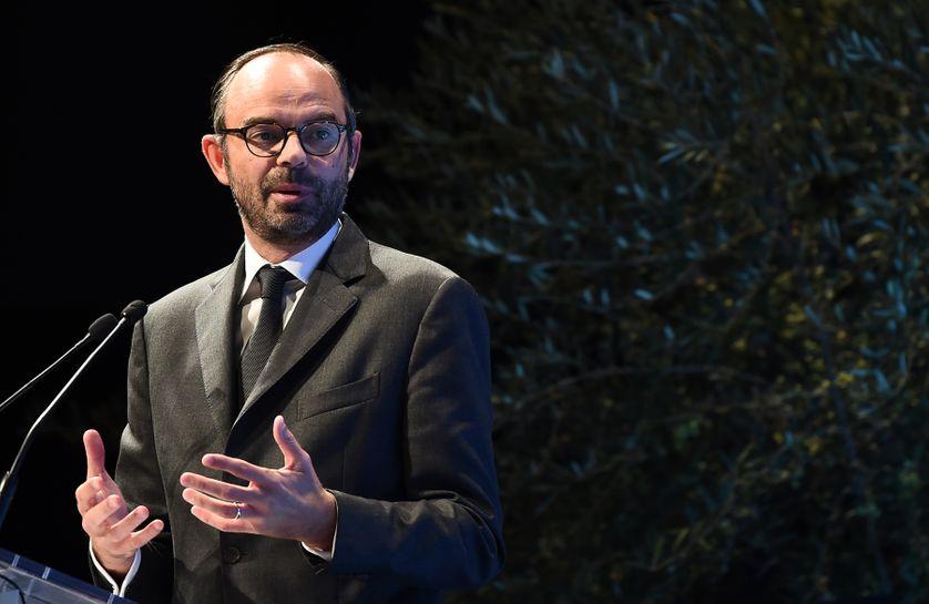 Edouard Philippe devant l'Association des départements de France, le 20 octobre 2017.