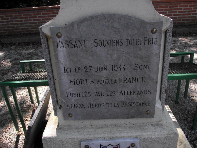 À Castelmaurou, une stèle rend hommage aux quinze résistants morts en 1944 dans son bois. JB Giorgetti est le 14ème identifié.
