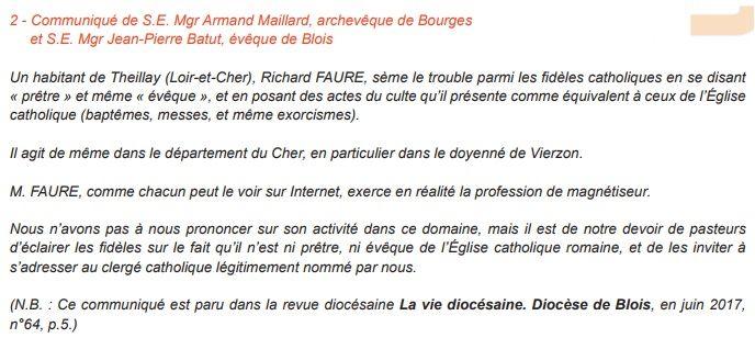 Le communiqué a été cosigné par l'archevêque de Bourges et l'évêque de Blois