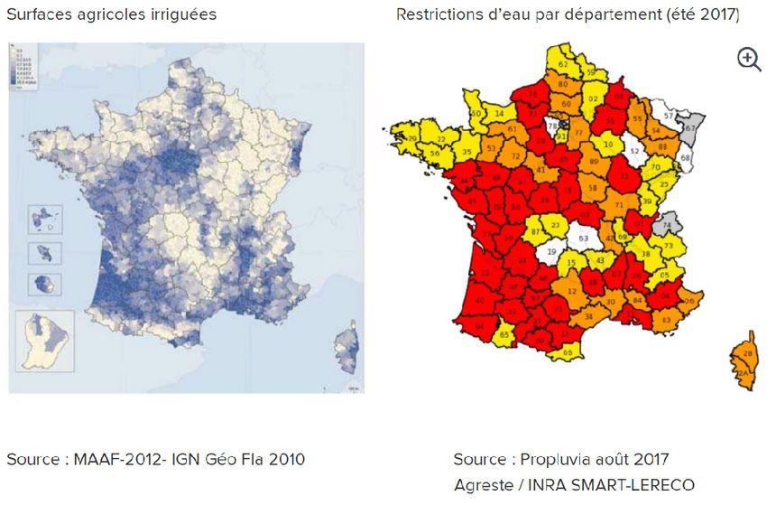 Les surfaces agricoles irriguées et les restrictions d'eau par département - Aucun(e)