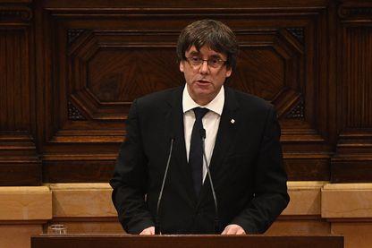 Carles Puigdemont  le 10 octobre 2017, lors de son discours au parlement catalan