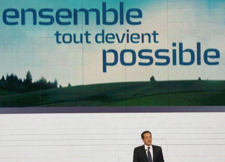 Nicolas Sarkozy lors d'un congrès de l'UMP le 14 janvier 2007