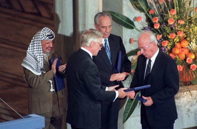 Arafat, Peres et Rabin en 1994