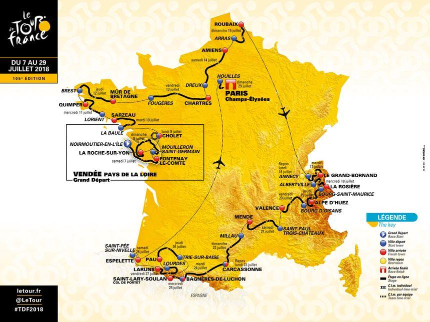 La carte officielle du Tour de France 2018 - Aucun(e)