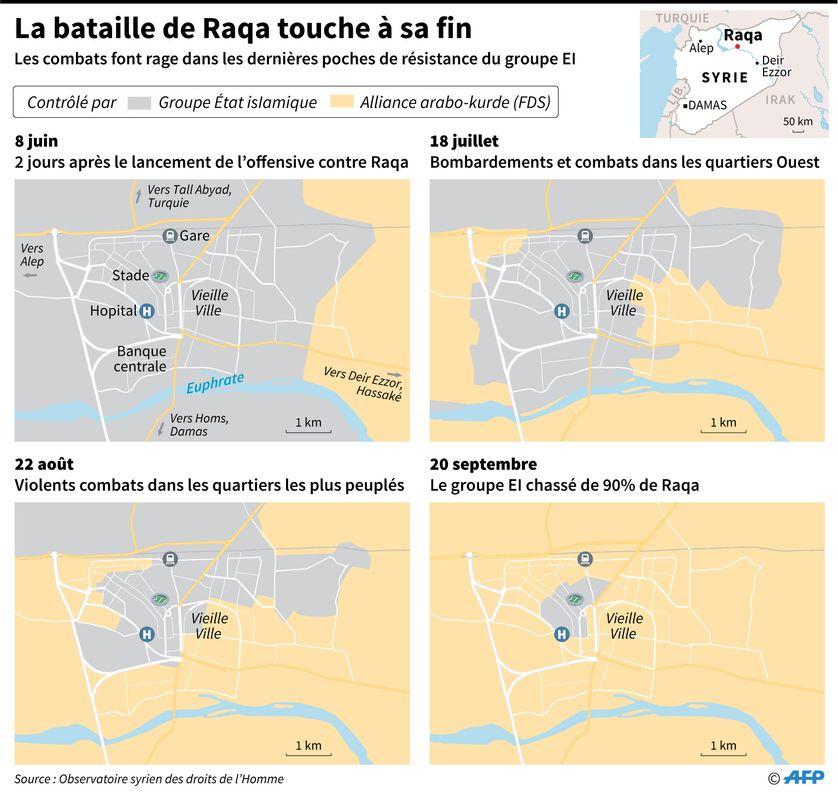 Les djihadistes du groupe Etat islamique sont sur le point de perdre la ville de Raqa, au nord de la Syrie