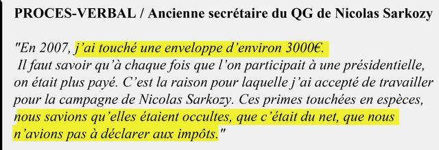 Extrait du procès-verbal de l'ancienne secrétaire au QG de Nicolas Sarkozy