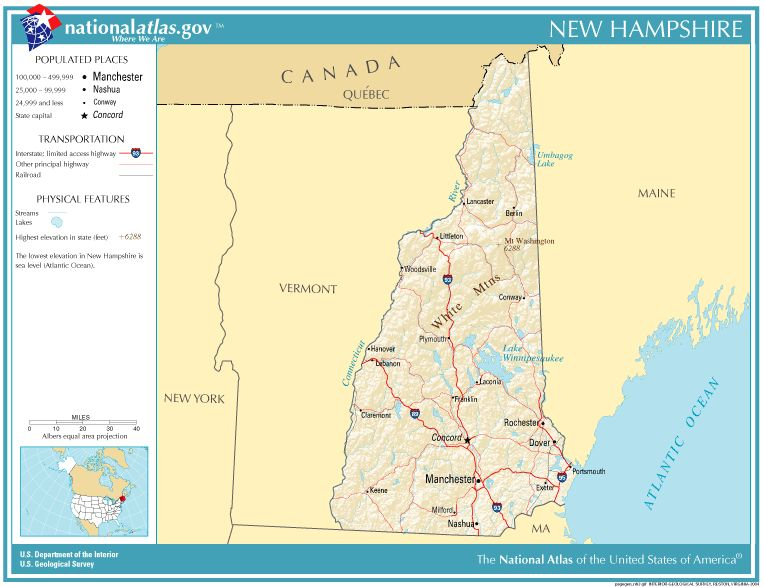 Carte de l'état du New Hampshire, au Nord est des USA (Avril 2007)