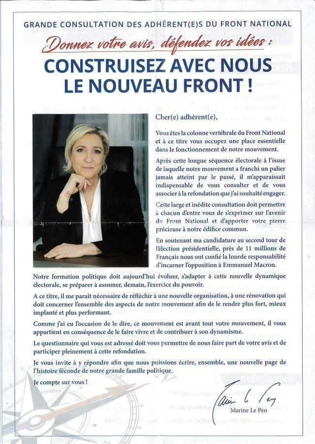 Sur 8 pages, le Front National demande à ses adhérents de se prononcer sur la ligne du parti
