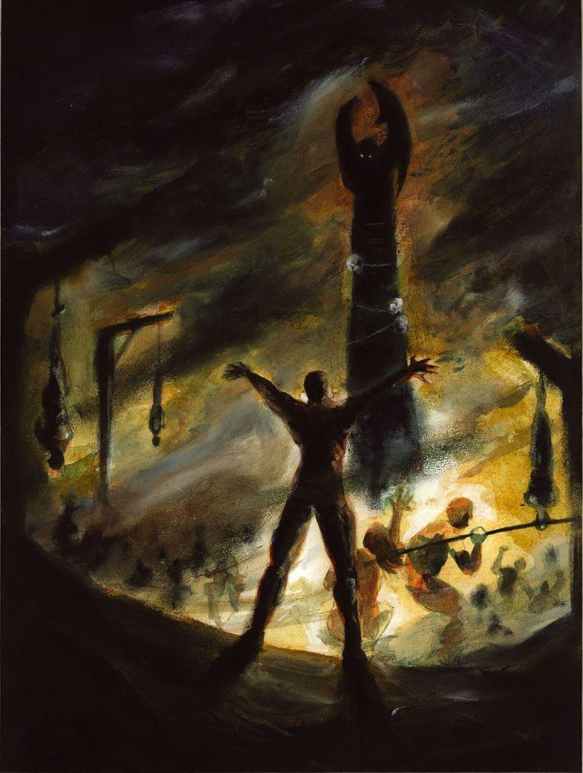 Le Culte impie, illustration de Gwabryel d'après la nouvelle L'Appel de Cthulhu de Howard Phillips Lovecraft.