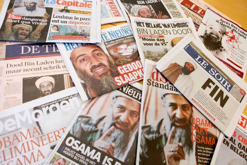 Illustrations de Unes de journaux belges sur la mort d'Oussama Ben Laden dans un raid américain au Pakistan. Photo prise le 3 mai 2011.