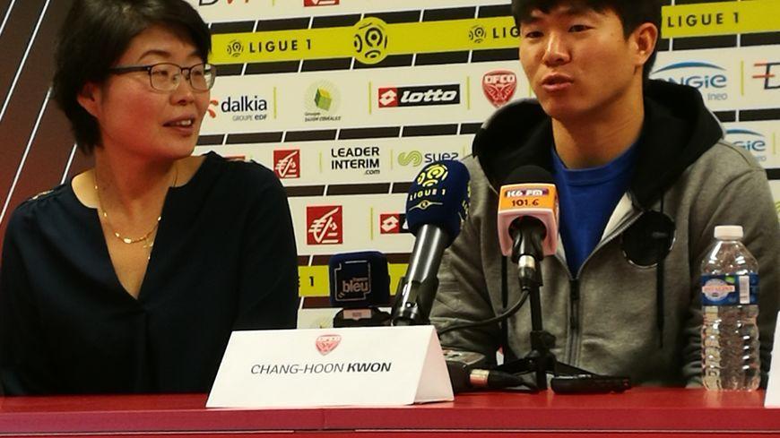 La recrue Kwon Chang-Hoon lors de sa signature avec le DFCO, lors du mercato hivernal en janvier 2017