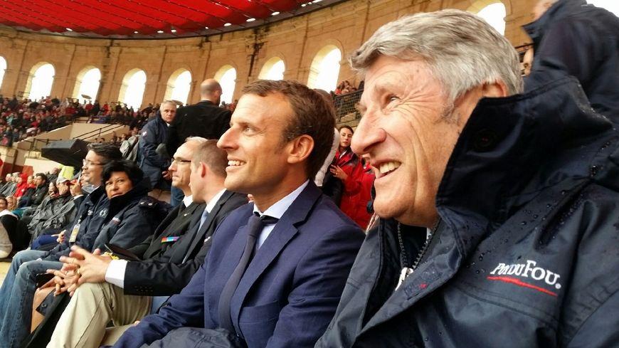 Philippe De Villiers, lors de la visite d'Emmanuel Macron au Puy du Fou en août 2016