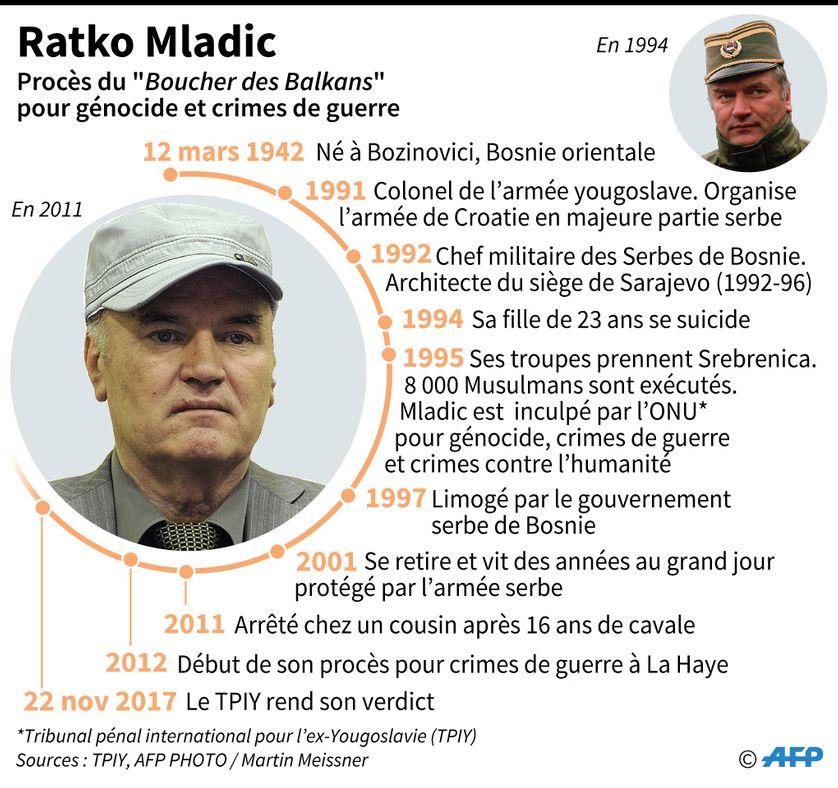 """Portrait de Ratko Mladic surnommé le """"Boucher des Balkans"""", jugé au TPIY de La Haye pour génocide, crimes de guerre et crimes contre l'humanité"""