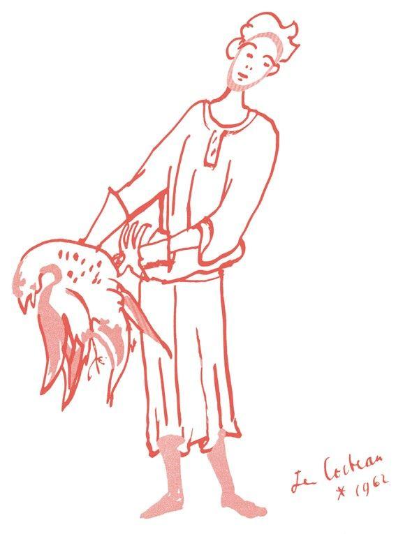 Dessin de Jean Cocteau (1962), extrait de « Recettes pour un ami » de Raymond Oliver, illustré par Jean Cocteau