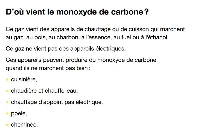 D'où vient le monoxyde de carbone ? (source Ministère chargé de la Santé)
