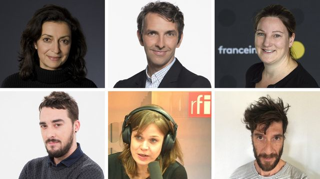 Fabienne Argiroffo © RTS - Yannick Dumont Baron © RC - Solenne Le Hen © Radio France/Christophe Abramowitz - Fabrice Gérard © RTBF - Florence Morice © RFI - Yves Zahno © RTS