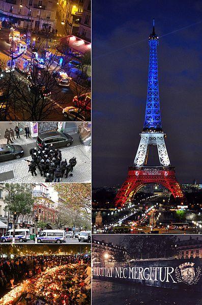 Montage de plusieurs images se rapportant aux Attentats du 13 novembre 2015 en France. Fugitron (Montage)