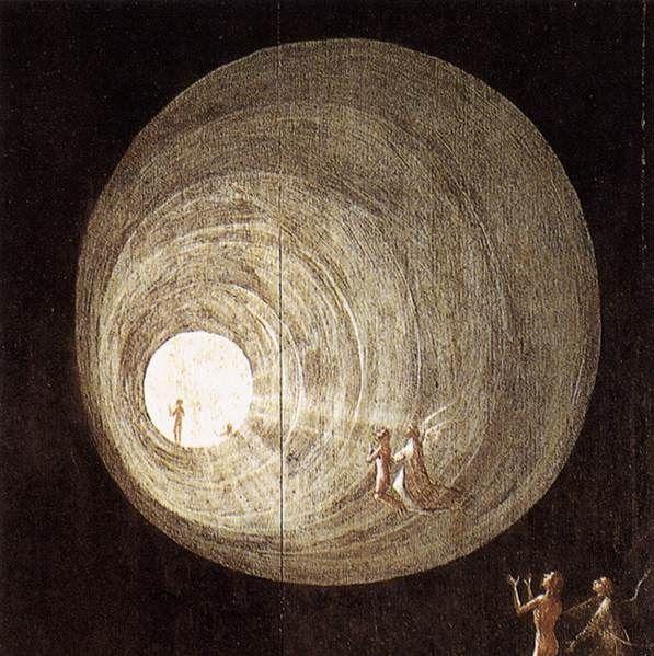 Détail de «L'Ascension vers l'empyrée » (vers 1505-1515) de Jérôme Bosch, souvent associée par les chercheurs à  l'expérience de mort imminente et à la vision du tunnel.