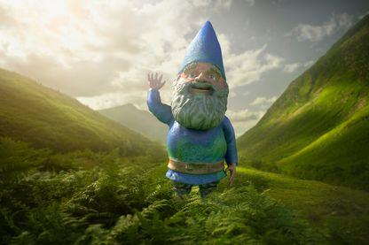 Nain de jardin dans une vallée verte luxuriante