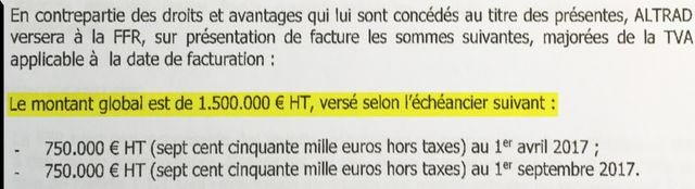 Extrait du contrat signé entre la FFR et Altrad investment authority