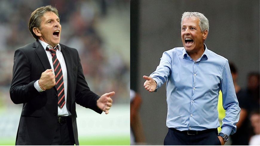 Claude Puel entraîneur de l'OGC Nice (2012-2016) et Lucien Favre actuel coach (depuis 2016)