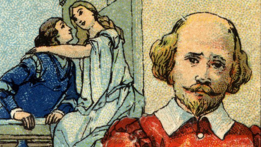 """Portrait de William Shakespeare (1564-1616) auteur de la pièce """"Roméo et Juliette"""" représentée à l'arrière plan. Chromolithographie de 1936."""