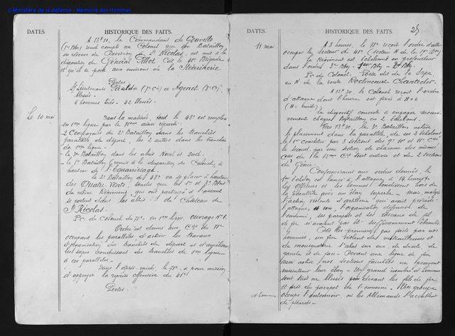 """Page d'archives du """"Journal de marche du 71e régiment d'infanterie"""" dont Ange Dreneuc faisait partie"""