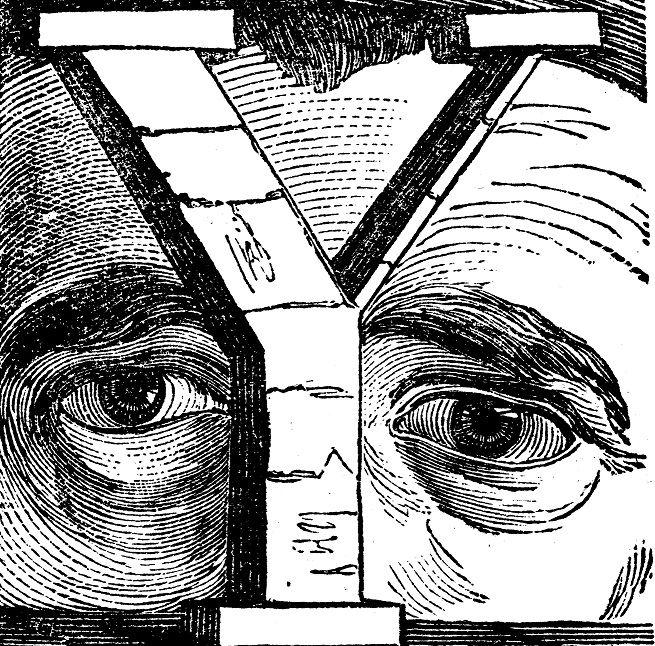 La lettre Y comme yeux : lettrine du Dictionnaire Universel, de Maurice La Chatre , édition 1853