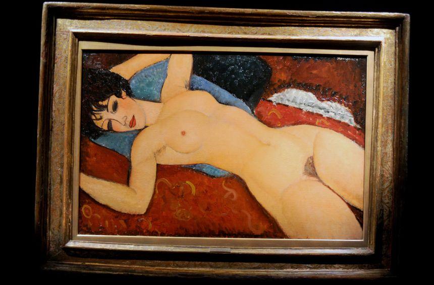 """""""Nu couché"""" de Modigliani, exposé avant sa vente aux enchères à New York en 2015"""