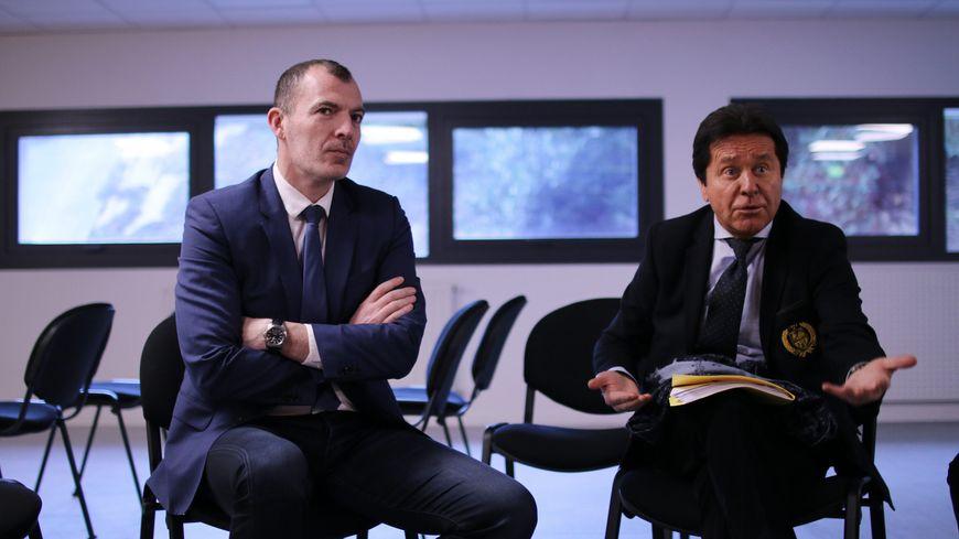 Yoann Joubert, le promoteur du YelloPark (à gauche) aux côtés de Waldemar Kita, le président du FC Nantes