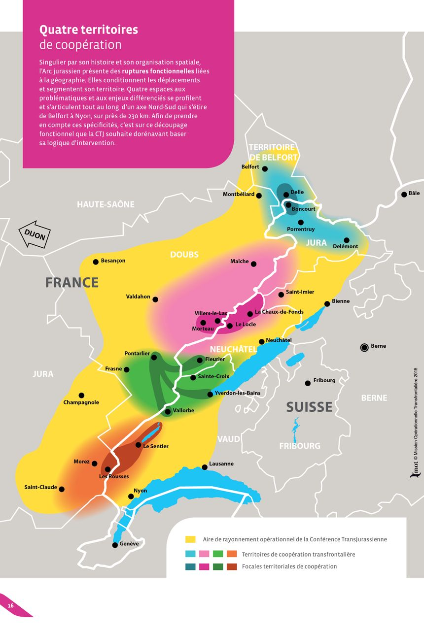 L'Arc jurassien : entre cantons suisses et départements français.