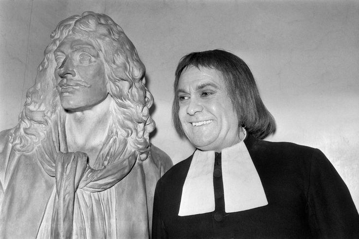 """Robert Hirsch après une représentaiton de """"Tartuffe"""" en 1973"""