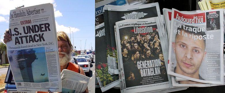 Les unes des journaux aux Etats-Unis et en France après les attaques terroristes du 11 septembre 2001 à New-York, et celles du 13 novembre 2015, à Paris.