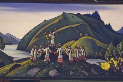 """""""Le Grand Sacrifice"""" - Scénographie pour le ballet """"Le Sacre du Printemps"""" d'Igor Stravinsky, 1910 - peinture de Nicholas Roerich (1874 - 1947)"""