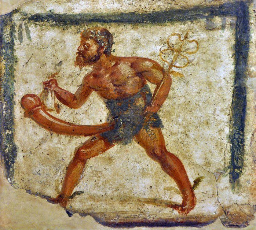 Mercure (Hermes) au pénis (phallus) demesuré (ithyphallique). Enseigne de boutique provenant de Pompei. Caricature - Naples, Musee archeologique national, Cabinet des secrets.