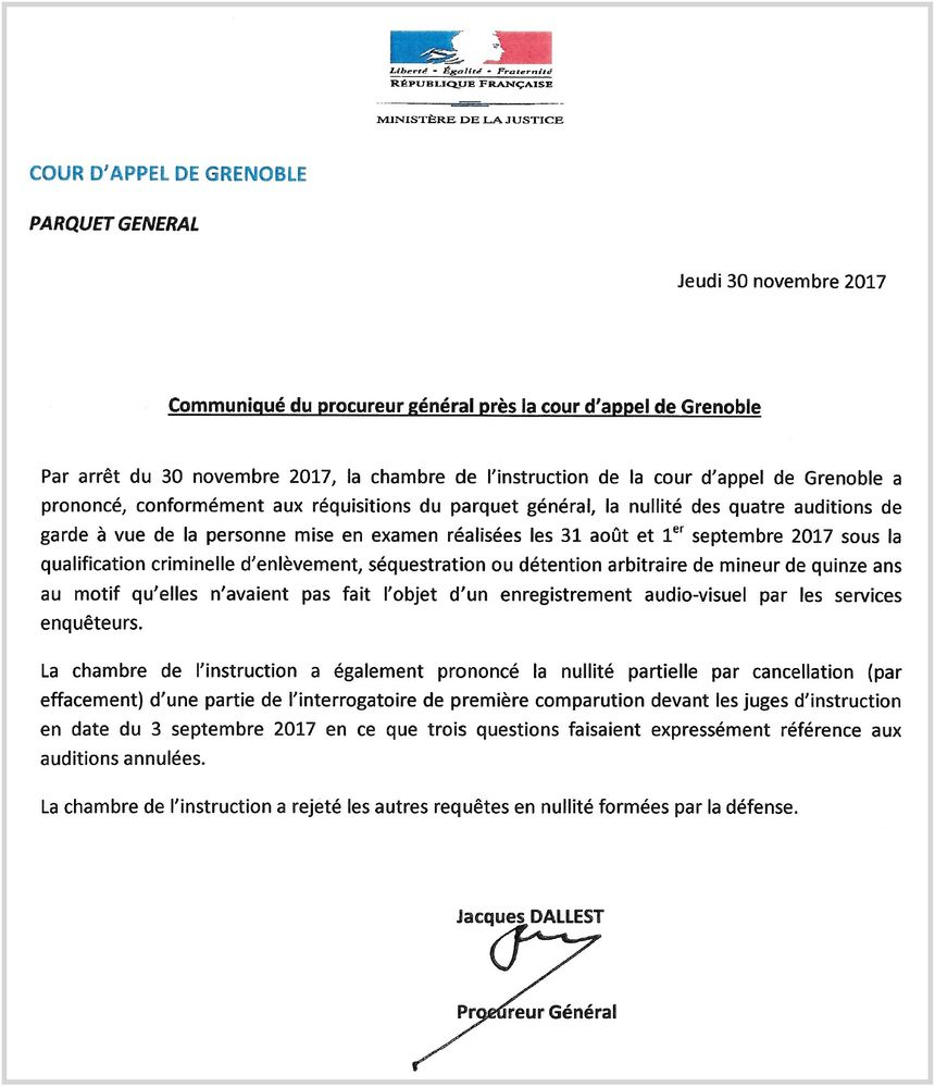 L'arrêt la chambre de l'instruction de la Cour d'appel de Grenoble