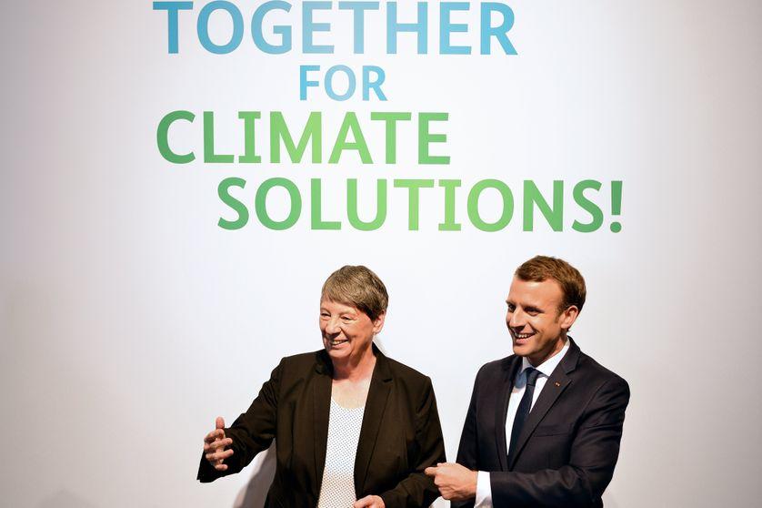 Barbara Hendricks, ministre allemande de l'Environnement et Emmanuel Macron lors de la COP 23 à Bonn