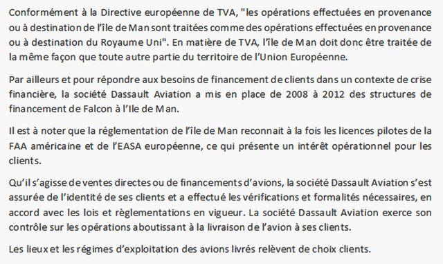 Réponse du directeur de la communication de Dassault Aviation