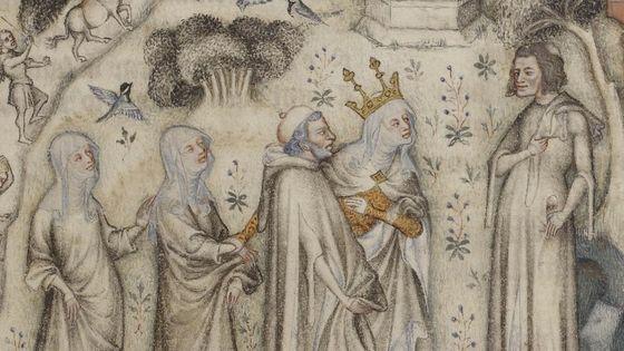 Nature offre à Guillaume de Machaut trois enfants : Sens, Rhétorique et Musique © Gallica / BNF