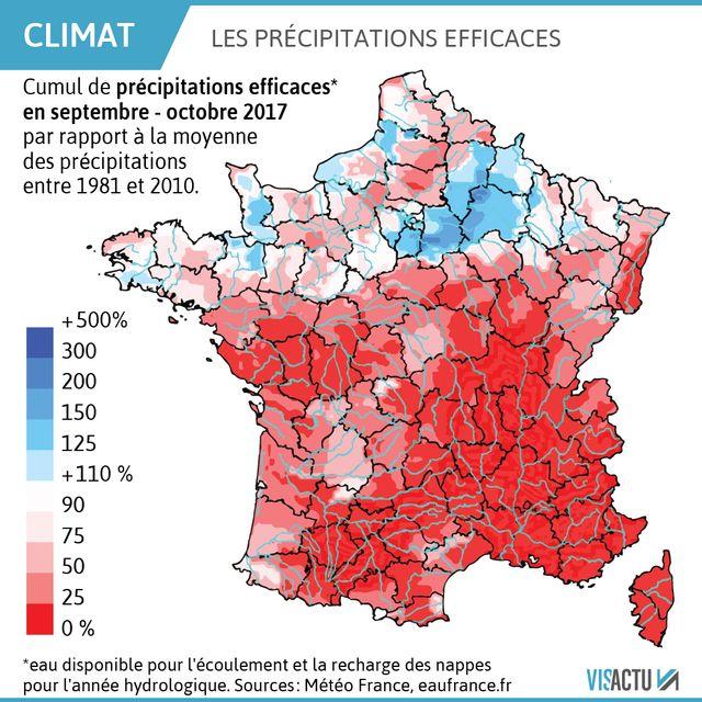 Le cumul des précipitations efficaces est généralement déficitaire de plus de 50 % au sud d'un axe Loire-Atlantique – Bas-Rhin.