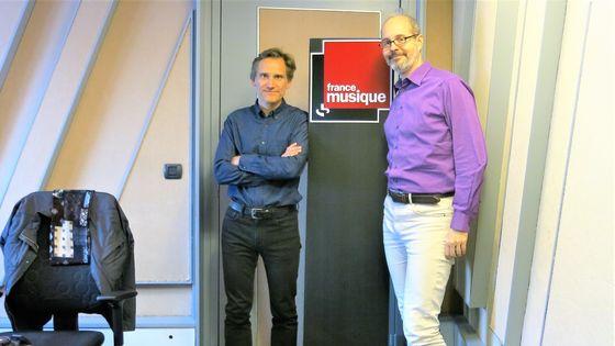 """France Musique, studio 152... Philippe Venturini & Jean-Philippe Biojout... """"Les Couperin"""" par Julien Tiersot (de g. à d.)"""