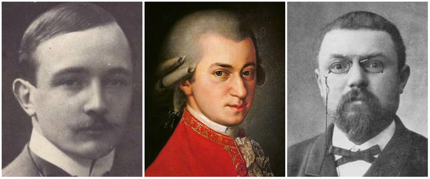 Robert Musil en 1900/ Posthumous portrait of Wolfgang Amadeus Mozart was painted by Barbara Kraft at the request of Joseph Sonnleithner in 1819/Henri Poincaré.