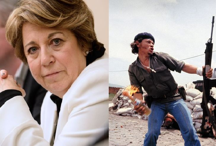 A gauche : Corinne Lepage ( AFPforum) / A droite : Molotov Man de Susan Meiselas