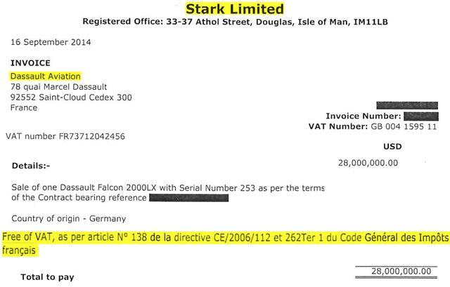 Facture Stark Limited du Falcon 2000LX acheté par Tinkov qui présente l'exonération de TVA