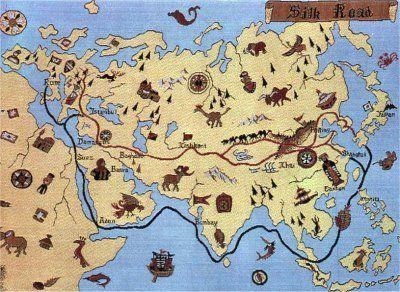 Les routes terrestres et maritimes d'après un document japonais (Musée Historique des Tissus de Lyon)